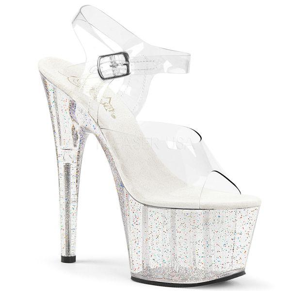 Durchsichtige Sandalette mit buntem Glitter Plateau ADORE-708MG